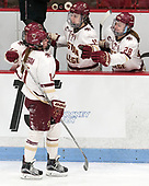 Caitrin Lonergan (BC - 11), Erin Connolly (BC - 15), Kathleen McNamara (BC - 28) -  The Boston College Eagles defeated the University of Vermont Catamounts 4-3 in double overtime in their Hockey East semi-final on Saturday, March 4, 2017, at Walter Brown Arena in Boston, Massachusetts.
