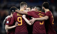 Calcio, ottavi di finale di Tim Cup: Roma vs Sampdoria. Roma, stadio Olimpico, 19 gennaio 2017.<br /> Roma&rsquo;s Edin Dzeko, second from left, celebrates with teammates after scoring during the Italian Cup round of 16 football match between Roma and Sampdoria at Rome's Olympic stadium, 19 January 2017.<br /> UPDATE IMAGES PRESS/Isabella Bonotto