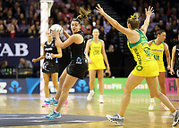 18.10.2018 Silver Ferns Gina Crampton in action during the Silver Ferns v Australia netball test match at the TSB Arena in Wellington. Mandatory Photo Credit ©Michael Bradley.