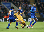 Leicester's Shinji Okazaki and Daniel Amarty tussle with Tottenham's Victor Wanyama during the Premier League match at the King Power Stadium, Leicester. Picture date: May 18th, 2017. Pic credit should read: David Klein/Sportimage