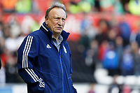 Cardiff manager Neil Warnock watches the game from the touch line during the Sky Bet Championship match between Swansea City and Cardiff City at the Liberty Stadium, Swansea, Wales, UK. Sunday 27 October 2019