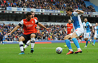 Blackburn Rovers' Sam Gallagher under pressure from Luton Town's Matty Pearson<br /> <br /> Photographer Kevin Barnes/CameraSport<br /> <br /> The EFL Sky Bet Championship - Blackburn Rovers v Luton Town - Saturday 28th September 2019 - Ewood Park - Blackburn<br /> <br /> World Copyright © 2019 CameraSport. All rights reserved. 43 Linden Ave. Countesthorpe. Leicester. England. LE8 5PG - Tel: +44 (0) 116 277 4147 - admin@camerasport.com - www.camerasport.com