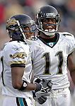 26 November 2006: Jacksonville Jaguars wide receiver Reggie Williams (11) smiles with teammate Charles Sharon (17) during a game against the Buffalo Bills at Ralph Wilson Stadium in Orchard Park, NY. The Bills defeated the Jaguars 27-24. Mandatory Photo Credit: Ed Wolfstein Photo<br />