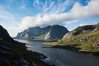 View towards Vindstad and Bunesfjord, Moskenesoy, Lofoten Islands, Norway