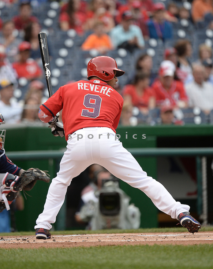 Washington Nationals Ben Revere (9) during a game against the Milwaukee Brewers on July 4, 2016, at Nationals Park in Washington DC. The Brewers beat the Nationals 1-0.