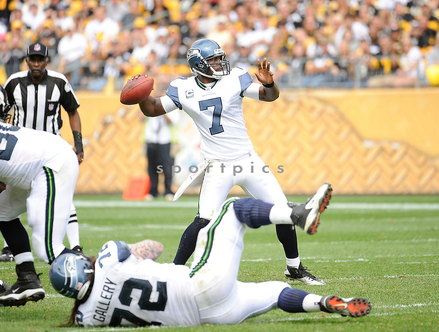 TAVARIS JACKSON, of the Seattle Seahawks, in action during the Seahawks game against the Pittsburgh Steelers on September 18, 2011 at Heinz Field in Pittsburgh, PA. The Steelers beat the Seahawks 24-0.