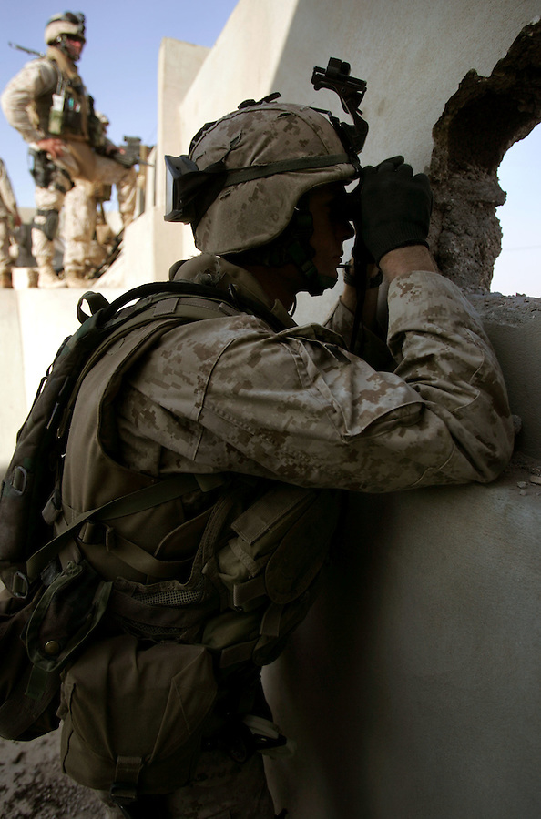 A Marine from Golf Co. 2nd Battalion 1st Marines searches for an elusive opponent from a roof-top position during the third day of Operation Steel Curtain, an operation to clear Husaybah (a city on the Iraq-Syrian border) of insurgents on Mon. Tues. 8, 2005.