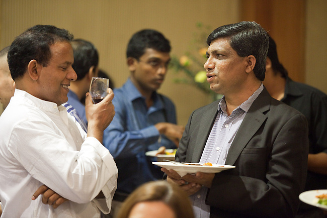 16 December, 2012, Kochin, INDIA:  Guests mingle at the Kochi-Muziris Biennale. Australian artists were guests of honor at a dinner hosted by representatives of the Australian High Commission at the Gateway Hotel. The Biennale curators travelled Down Under to select an exciting group of artists to take part in this celebration of contemporary art from around the world, which is expected to become one of Asia's best arts events. The Biennale acknowledges the cosmopolitan modernity of Kochi and the international connections established by the ancient port of Muziris that existed 30km north of Kerala's current commercial capital. Picture by Graham Crouch/DFAT