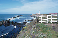 Point Arena Lighthouse (built 1908) along Pacific West Coast, California, USA