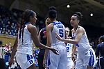 DURHAM, NC - DECEMBER 29: Duke's Faith Suggs (14) and Lexie Brown (4). The Duke University Blue Devils hosted the Liberty University Flames on December 29, 2017 at Cameron Indoor Stadium in Durham, NC in a Division I women's college basketball game. Duke won the game 68-51.