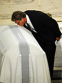 Boston, MA - August 29, 2009 -- Edward Kennedy Jr. kisses the casket of his fatherUS Senator Edward Kennedy at the Basilica of Our Lady of Perpetual Help Catholic Church in Boston, Massachusetts, USA for the funeral Mass for Kennedy 29 August 2009. Senator Edward Kennedy, 77, died 25 August 2009 after a battle with brain cancer.  .Credit: CJ  Gunther - Pool via CNP