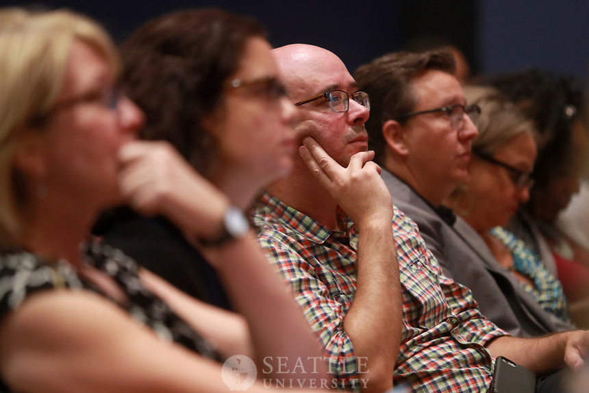 September 12th, 2017 - Changing Seattle: A Seattle Mayoral Candidate Debate at Seattle University. <br /> Members of the public listen to Seattle mayoral candidates Jenny Durkan and Cary Moon as they address growth, affordable housing and homelessness in the city during the live streamed debate.
