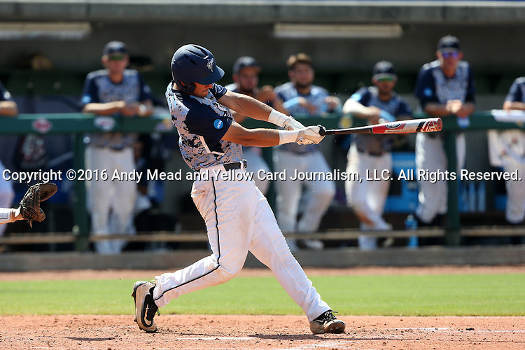 02 June 2016: Nova Southeastern's Jake Anchia hits a home run. The Nova Southeastern University Sharks played the Cal Poly Pomona Broncos in Game 11 of the 2016 NCAA Division II College World Series  at Coleman Field at the USA Baseball National Training Complex in Cary, North Carolina. Nova Southeastern won the semifinal game 4-1 and advanced to the championship series.