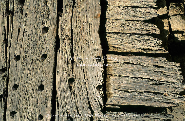 Detail of a wooden door in Vanoise National Park, French Alps, France.