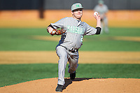 Marshall Thundering Herd relief pitcher Sam Hunter (2) delivers a pitch to the plate against the Georgetown Hoyas at Wake Forest Baseball Park on February 15, 2014 in Winston-Salem, North Carolina.  The Thundering Herd defeated the Hoyas 5-1.  (Brian Westerholt/Four Seam Images)