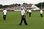Cartier International Polo at the Guards Club, Smiths Lawn, Windsor Great park, Egham, Surrey, England 2006. A team of Sikhs are groundsmen at the Guards Polo Club.