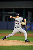 Mahoning Valley Scrappers relief pitcher Elijah Morgan (43) delivers a pitch during a game against the Williamsport Crosscutters on July 8, 2017 at BB&T Ballpark at Historic Bowman Field in Williamsport, Pennsylvania.  Williamsport defeated Mahoning Valley 6-1.  (Mike Janes/Four Seam Images)
