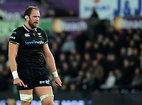 Ospreys' Alun Wyn Jones in action during todays match<br /> <br /> Photographer Ashley Crowden/CameraSport<br /> <br /> Guinness Pro14 Round 6 - Ospreys v Scarlets - Saturday 7th October 2017 - Liberty Stadium - Swansea<br /> <br /> World Copyright &copy; 2017 CameraSport. All rights reserved. 43 Linden Ave. Countesthorpe. Leicester. England. LE8 5PG - Tel: +44 (0) 116 277 4147 - admin@camerasport.com - www.camerasport.com