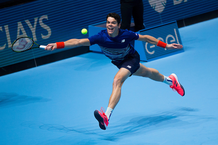 Milos Raonic of Canada in action against Dominic Thiem of Austria in their Group Ivan Lendl match today<br /> <br /> Photographer Craig Mercer/CameraSport<br /> <br /> International Tennis - Barclays ATP World Tour Finals - Day 5 - Thursday 17th November 2016 - O2 Arena - London<br /> <br /> World Copyright &copy; 2016 CameraSport. All rights reserved. 43 Linden Ave. Countesthorpe. Leicester. England. LE8 5PG - Tel: +44 (0) 116 277 4147 - admin@camerasport.com - www.camerasport.com