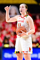 College Park, MD - NOV 29, 2017: Maryland Terrapins guard Taylor Mikesell (11) calls out a play during ACC/Big Ten Challenge game between Gerogia Tech and the No. 7 ranked Maryland Terrapins. Maryland defeated The Yellow Jackets 67-54 at the XFINITY Center in College Park, MD.  (Photo by Phil Peters/Media Images International)