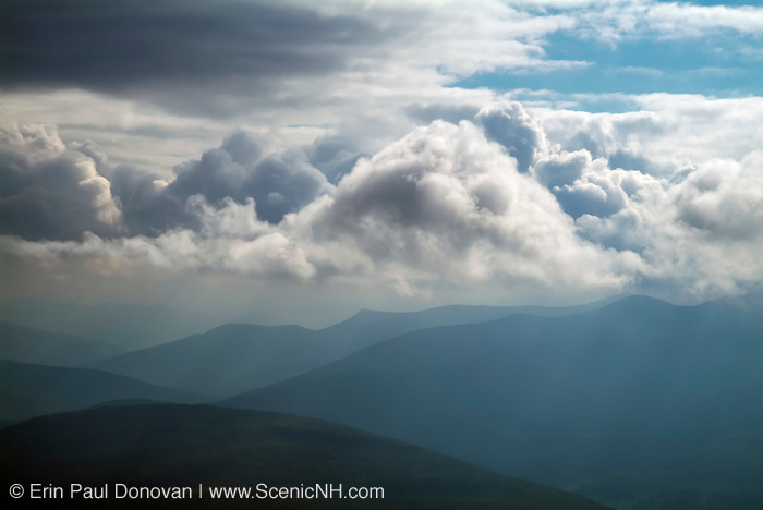 Dramatic cloud cover over the White Mountains from the Willey Range Trail near the summit of Mount Willey in the White Mountains, New Hampshire  USA. .