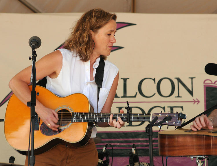 "Susan Werner, on the stage for the 'Gospel Wake Up Call"" Show at the  Main Stage of the Falcon Ridge Folk Festival, held on Dodd's Farm in Hillsdale, NY on Sunday, August 2, 2015. Photo by Jim Peppler. Copyright Jim Peppler 2015."