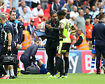 Huddersfield's David Wagner passes on instructions on to Kasey Palmer during the Championship Play-Off Final match at Wembley Stadium, London. Picture date: May 29th, 2017. Pic credit should read: David Klein/Sportimage