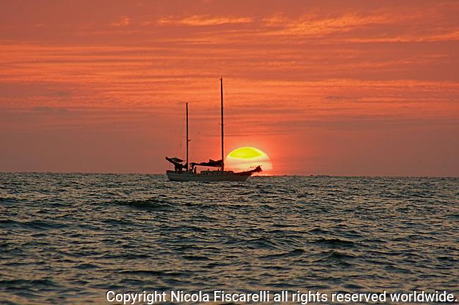 A sailboat sails into the sunset at the Bay of Banderas Mexico.