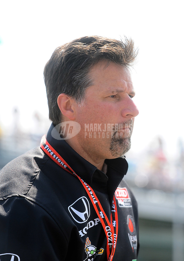 May 28, 2010; Indianapolis, IN, USA; Indy Light Series team owner Michael Andretti during the Freedom 100 at the Indianapolis Motor Speedway. Mandatory Credit: Mark J. Rebilas-