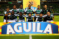 PALMIRA - COLOMBIA - 03 - 03 - 2018: Los jugadores de Deportivo Cali, posan para una foto, durante partido entre Deportivo Cali y Rionegro Aguilas Doradas de la fecha 6 por la liga Aguila I 2018, jugado en el estadio Deportivo Cali (Palmaseca) en la ciudad de Palmira. / The players of Deportivo Cali, pose for a photo, during a match between Deportivo Cali and Rionegro Aguilas Doradas of the 6th date for the Liga Aguila I 2018, at the Deportivo Cali (Palmaseca) stadium in Palmira city. Photo: VizzorImage  / Nelson Rios / Cont.