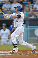 Asheville Tourists Kyle Parker #8 swings at a pitch during a game against the Savannah Sand Gnats at McCormick Field in Asheville,  North Carolina;  June 6, 2011.  The Tourists won the game 10-1.  Photo By Tony Farlow/Four Seam Images