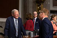 United States Senator Jim Inhofe (Republican of Oklahoma) speaks to Acting Secretary of the Navy Thomas Modly prior to his testimony before the United States Senate Committee on Armed Services at the U.S. Capitol in Washington D.C., U.S., on Tuesday, December 3, 2019.  The panel discussed reports of substandard housing conditions for U.S. service members. <br /> <br /> Credit: Stefani Reynolds / CNP /MediaPunch