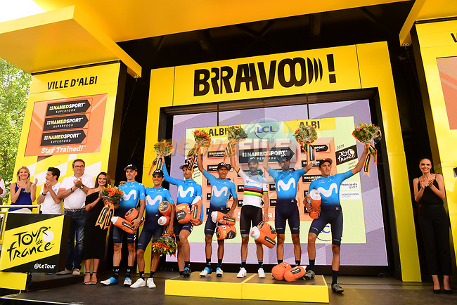 Movistar Team lead the team classification at the end of Stage 10 of the 2019 Tour de France running 217.5km from Saint-Flour to Albi, France. 15th July 2019.<br /> Picture: ASO/Pauline Ballet   Cyclefile<br /> All photos usage must carry mandatory copyright credit (© Cyclefile   ASO/Pauline Ballet)