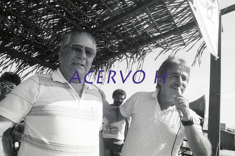 Serra Pelada.<br /> Governador do estado do Pará Aloysio Chaves e Sebastião Rodrigues de Moura, o Major Curió durante comício no garimpo de Serra Pelada<br /> Foto Paulo Santos<br /> 1984