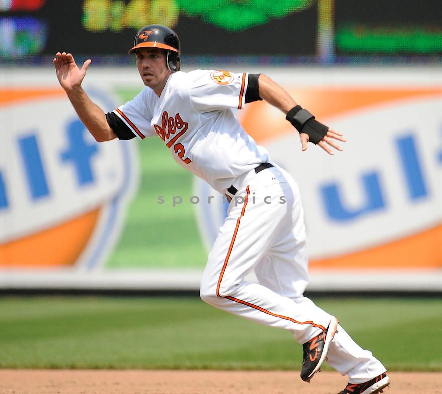 JJ HARDY, of the Baltimore Orioles in action during the Orioles game against the Kansas City Royals, on May 26, 2011 at  Oriole Park in Baltimore, Maryland. The Orioles beat the Royals 6-5.