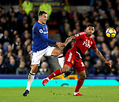 5th November 2017, Goodison Park, Liverpool, England; EPL Premier League Football, Everton versus Watford; Phil Jagielka of Everton clears as Andre Gray of Watford looks on