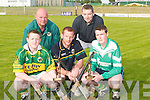 POC-FADA: Winner and runners up in the Kerry 2007 Poc-Fada contest at Austin Stack Park, Tralee, on Tuesday evening, 29th May. L-r: Tadgh Flynn (1st Causeway), Maurice Fitzgerald (runner up Kilmoyley), John Bergin (South Kerry Hurling Officer who presented the prizes), John Ryan (runner up Dr Crokes) and Jim Hannafin (2nd Ardfert). .