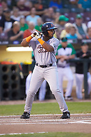 Devin Davis (32) of the Bowling Green Hot Rods at bat against the Dayton Dragons at Fifth Third Field on June 8, 2018 in Dayton, Ohio. The Hot Rods defeated the Dragons 11-4.  (Brian Westerholt/Four Seam Images)