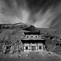 The Mogao grottoes, or caves, Silk Route; Dunhuang, Jiuquan, Gansu Province, China.