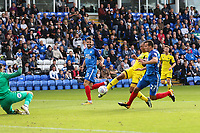 GOAL - Wes Thomas of Oxford United (3rd right) scores his team's second goal of the game to make the score 1-2 during the Sky Bet League 1 match between Peterborough and Oxford United at the ABAX Stadium, London Road, Peterborough, England on 30 September 2017. Photo by David Horn.