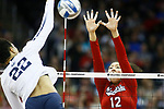 KANSAS CITY, KS - DECEMBER 14: Jazz Sweet #12 of the University of Nebraska jumps for an attempted block against Simone Lee #22 of Penn State University during the Division I Women's Volleyball Semifinals held at Sprint Center on December 14, 2017 in Kansas City, Missouri. (Photo by Tim Nwachukwu/NCAA Photos via Getty Images)