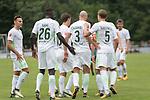 29.07.2017, Fritz Detmar Stadion, Lohne, GER, FSP SV Werder Bremen (GER) vs WestHam United (ENG), <br /> <br /> im Bild<br /> Jubel nach dem 1 zu 0 durch Luca Caldirola (Werder Bremen #3) mit Florian Kainz (Werder Bremen #7) Yuning Zhang (Neuzugang SV Werder Bremen #19)<br /> Max Kruse (Werder Bremen #10)<br /> Lamine San&eacute; / Sane (Werder Bremen #26)<br /> Robert Bauer (Werder Bremen #4)<br /> <br /> <br /> Foto &copy; nordphoto / Kokenge