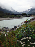 bend in the Skagway River on a rainy August Day in Alaska