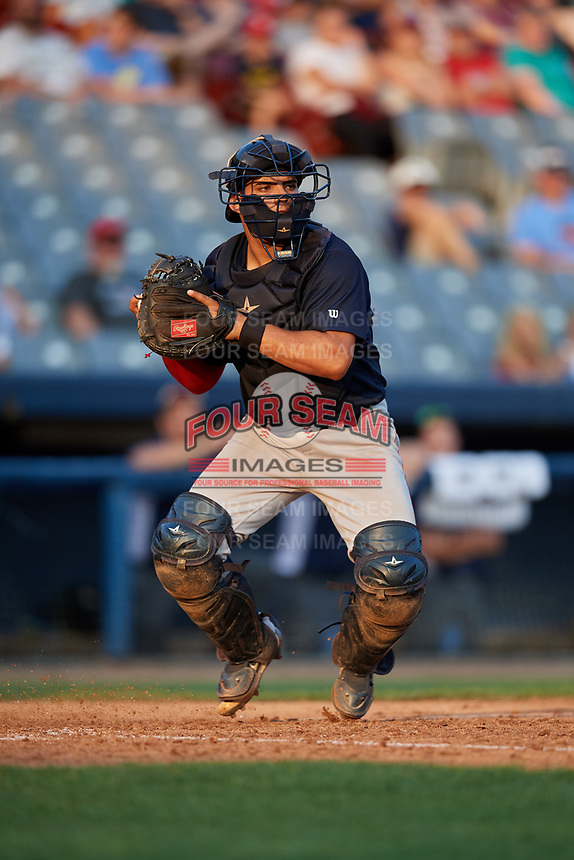 Lowell Spinners catcher Alan Marrero (21) during a game against the Connecticut Tigers on August 26, 2018 at Dodd Stadium in Norwich, Connecticut.  Connecticut defeated Lowell 11-3.  (Mike Janes/Four Seam Images)