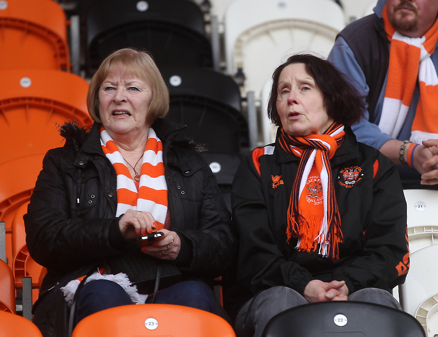 Blackpool Football Club's Fans await the kick off<br /><br />Photographer Mick Walker/CameraSport<br /><br />Football - The Football League Sky Bet League One - Blackpool v Coventry City - Saturday 12th March 2016 - Bloomfield Road - Blackpool   <br /><br />&copy; CameraSport - 43 Linden Ave. Countesthorpe. Leicester. England. LE8 5PG - Tel: +44 (0) 116 277 4147 - admin@camerasport.com - www.camerasport.com