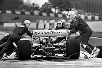 HAMPTON, GA - APRIL 22: Rick Mears (Penske/Cosworth TC) makes a pit stop during the Gould Twin Dixie 125 event on April 22, 1979, at Atlanta International Raceway near Hampton, Georgia.