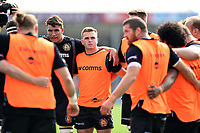 Joe Simmonds of Exeter Chiefs looks on in a pre-match huddle. Gallagher Premiership match, between Exeter Chiefs and Leicester Tigers on September 1, 2018 at Sandy Park in Exeter, England. Photo by: Patrick Khachfe / JMP