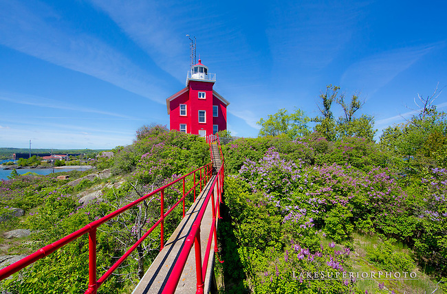 Marquette Lighthouse, lilacs, catwalk