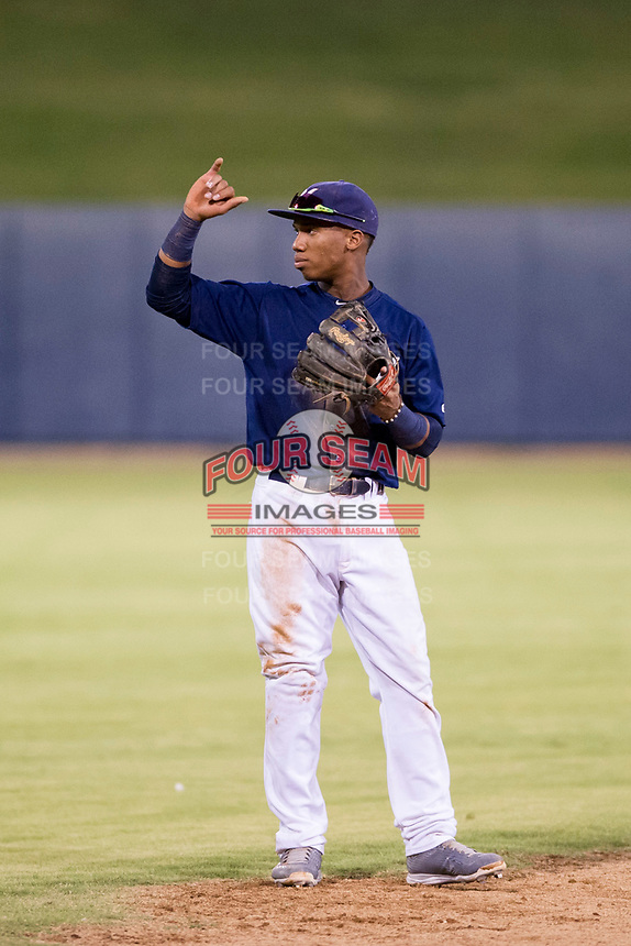 AZL Brewers shortstop Jean Carmona (5) on defense against the AZL Padres 2 on September 2, 2017 at Maryvale Baseball Park in Phoenix, Arizona. AZL Brewers defeated the AZL Padres 2 2-0. (Zachary Lucy/Four Seam Images)