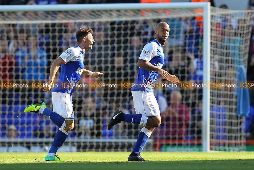 Delight for David McGoldrick of Ipswich Town (R) after he scores the first goal - Ipswich Town vs Brighton & Hove Albion - Sky Bet Championship Football at Portman Road, Ipswich, Suffolk - 28/09/13 - MANDATORY CREDIT: Gavin Ellis/TGSPHOTO - Self billing applies where appropriate - 0845 094 6026 - contact@tgsphoto.co.uk - NO UNPAID USE